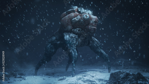 Fototapeta 3d illustration of a cyberpunk scary monster spider standing on snowy ground with falling snow in the night scene. Futuristic post apocalypse mutant in metal armor. Concept art sci- fi alien character obraz