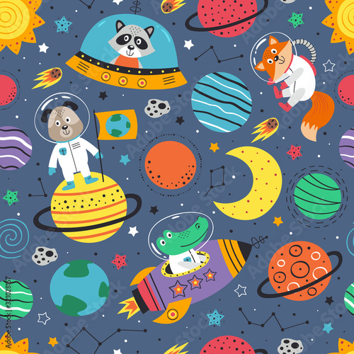 seamless pattern with space animals Wallpaper Mural
