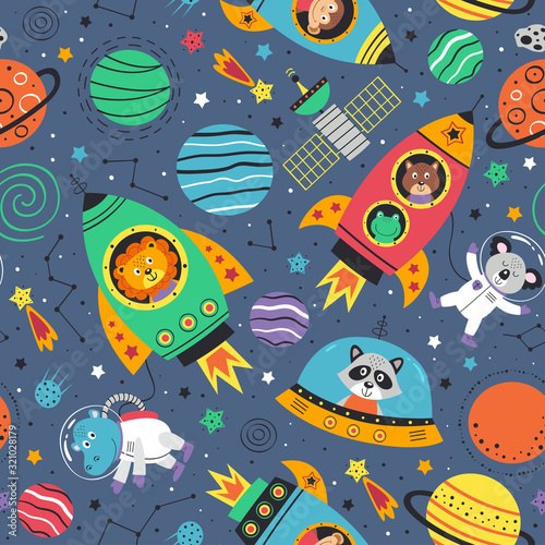 Photo seamless pattern with space animals in rockets