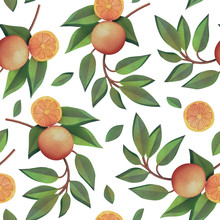 Orange Branches With Fruits Seamless Pattern Isolated On White Background. Natural Fresh Organic Summer Pattern. Garden Texture. 3d Rendering With Watercolor Painting Of Oranges, Tangerines And Leaves