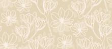 Magnolia In Beige Line Art - S...