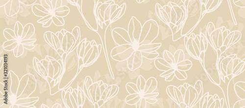 Magnolia in beige line art - seamless pattern Canvas Print