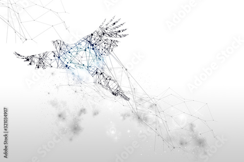 The particles, geometric art, line and dot of bird flying abstract illustration Canvas Print