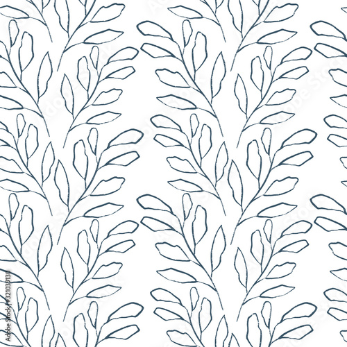Fototapety, obrazy: Floral seamless pattern with tree branches drawn with a texture brush. Art line branch.