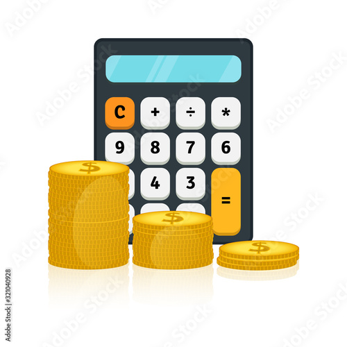 Vector illustration of calculator and gold dollar coins Canvas Print