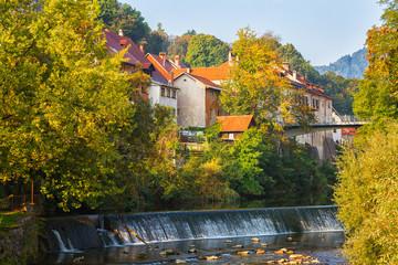 Stone bridge in Skofja Loka town, Slovenia