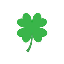 Four Leaf Clover Icon In Flat ...