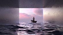 Woman Sail In A Dark Tunnel