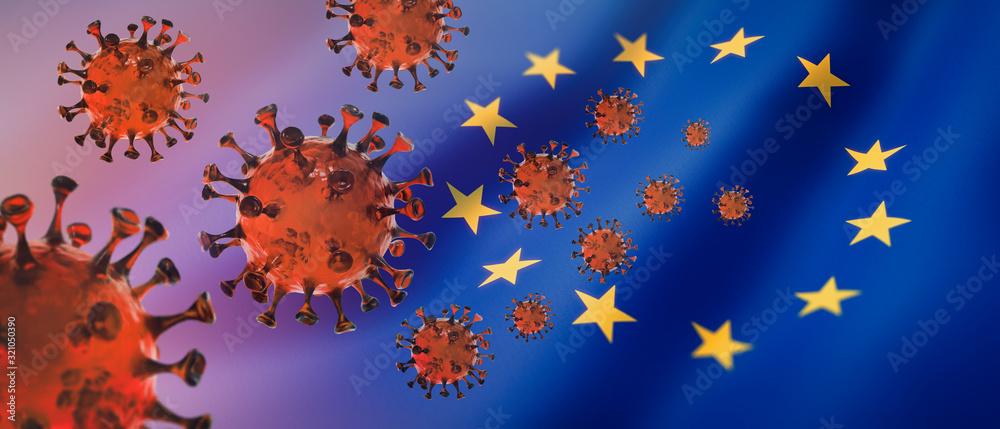 Fototapeta Corona Virus 2019nCoV mit Europa-Flagge