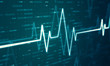 Ekg heart beat line monitor. Health care and technology concept. Digital signal wave. 3d rendering - illustration.
