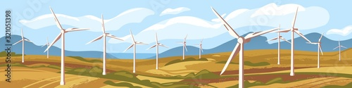 Fotomural Autumn natural landscape with windmills vector graphic illustration
