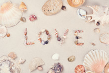 Inscription LOVE Made Of Seashells On The Beach Sand On A Sunny Day