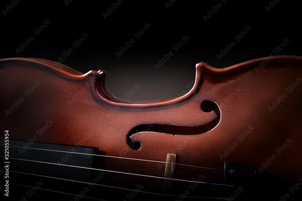 Fototapeta Violin body and strings detail with dark background
