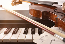 Violin And Bow Detail On Piano...
