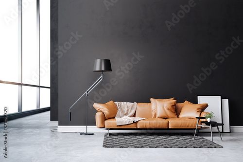 Fototapeta 3d beautiful interior with couch and floor lamp obraz