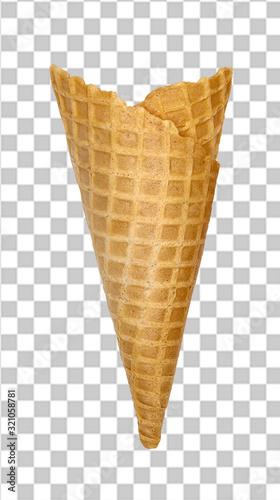 Fotografie, Obraz Empty waffle ice cream cone on isolated background