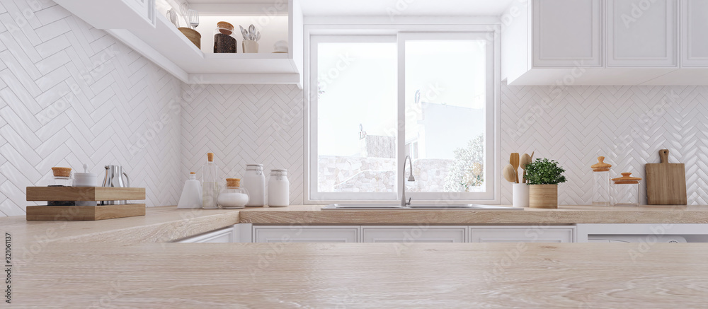 Fototapeta Wooden top on background of modern kitchen with window and shelves.-3D illustration.
