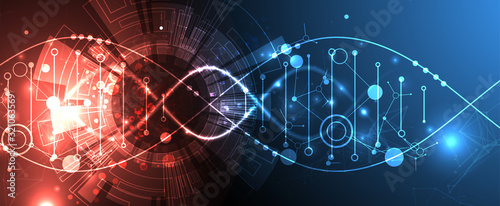 Science template, wallpaper or banner with a DNA molecules. Wallpaper Mural