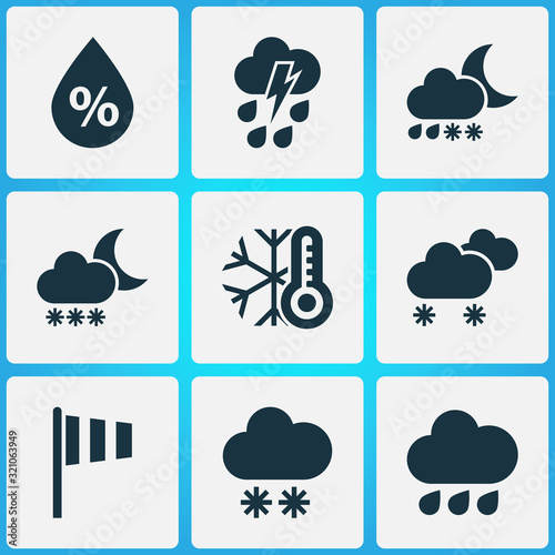 Climate icons set with cold, thundershower, vane and other cloudy small amount of snow elements Canvas Print