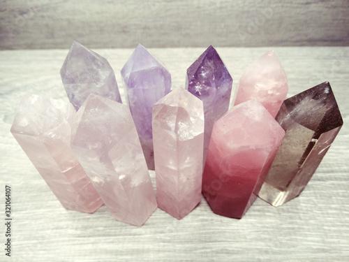 Fototapeta pink tourmaline gem crystal quartz mineral geological background obraz