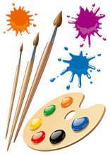 Palette With Colorful Paint An...
