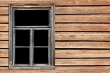 Wooden Window Village Cottage House. Empty Copy Space Grunge Brown Wood Wall. Rustic Frame Background.