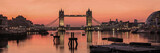 Fototapeta Londyn - LONDON,UK:  Panorama of Tower Bridge, City Hall and the River Thames in early dawn light