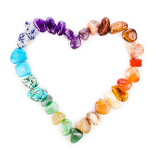 Heart Made Of Colorful Semiprecious Gemstones Isolated On A White Background.