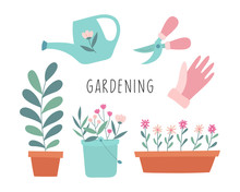 Cute Set Of Gardening Items. Plants, Flowers, Watering Can, Scissors, Gloves. Cartoon Vector Illustration Isolated On White Background.