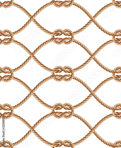Vector seamless pattern with brown twisted ropes - 321068184