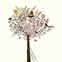 Beautiful Floral Tree With Birdcage And Bird, And Butterflies