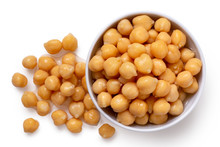 Cooked Chick Peas In A Bowl.