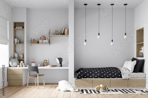 Fototapeta Interior Kids Bedroom Wall Mockup -  3d Rendering, 3d Illustration obraz