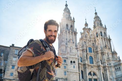 Portrait Of Happy Man On Pilgrimage At Santiago De Compostela Slika na platnu