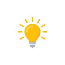 Lightbulb Icon In A Flat Desig...