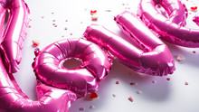 Pink Balloons In The Shape Of ...