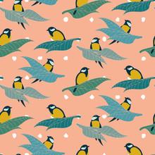 Great Tit Birds Sitting On A Branches Seamless Vector Pattern On A Pink Background. Nature Themed Surface Print Design.