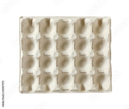 Valokuvatapetti Empty egg carton isolated on white