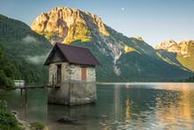 Lago Del Predil Mountain Lake Near Cave Del Predil, Italy