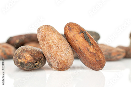 Lot of whole fresh brown cocoa bean three in focus isolated on white background Wallpaper Mural