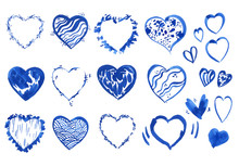 Large Set Of Blue Hearts On A ...