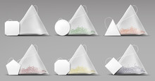 Tea Pyramid Bags Set Isolated ...