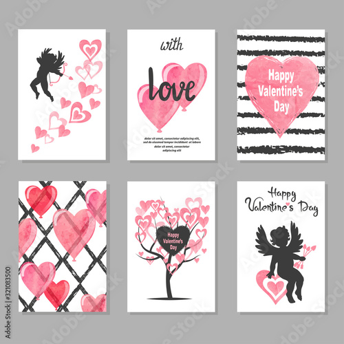 Set of Valentine's day greeting cards with hearts and cupids. Love vector illustration.