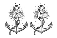 Anchor Decorated With Flowers,...