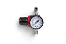 Pressure Gauge Of Air Compressor Isolated On White Background.