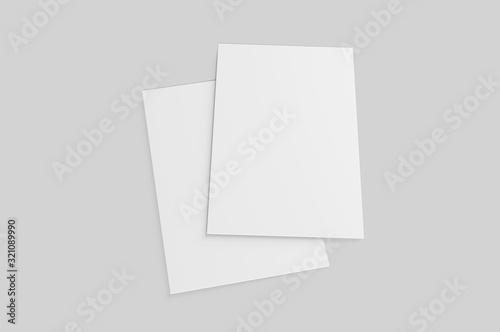 Valokuvatapetti Blank postcard, flyer and pamphlet for mock up, 3d render illustration