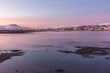 Amazing sunrise with amazing magenta color over Tromso, Norway. Polar night. long shutter speed