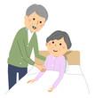 就寝する高齢者 老老介護