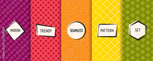 fototapeta na lodówkę Vector geometric seamless patterns set. Bright colorful background swatches with simple modern labels. Cute funky abstract textures collection. Stylish ornaments. Pretty design. Funny childish style