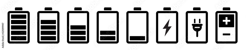 Fototapeta Battery icons set. Battery charging charge indicator icon. level battery energy. Alkaline battery capacity charge icon. Flat style - stock vector.